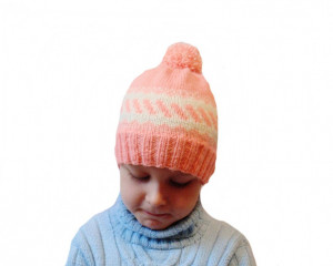 Handmade knitted hat, children's hat, hat with pompon, hat for a girl, a pink hat,knitted hat, winter hat, handmade hat, baby hat, warm hat