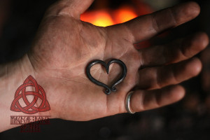 Forged heart pendant iron necklace small handmade heart
