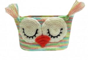 Decorative knitted handicraft basket,baby owl basket, Basket for trifles, organizer, table-top basket, hanging basket