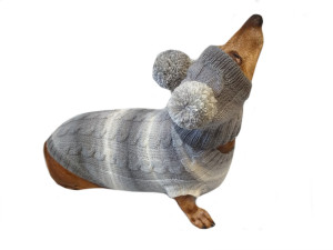 Gray suit for dogs hat and sweater set, hat for dachshund, clothes for dachshund, sweater for dog, clothes for dog