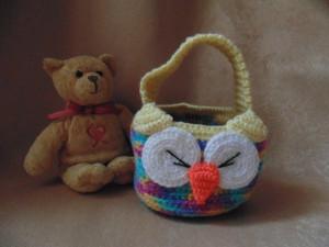 Knitted basket, basket for pencils. Basket for trifles, organizer, table-top basket, hanging basket, basket for a bathroom