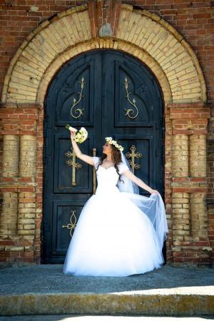 White Wedding Dress Lace Wedding Dress Draped Wedding Dress Floor Length Multi-layer Skirt
