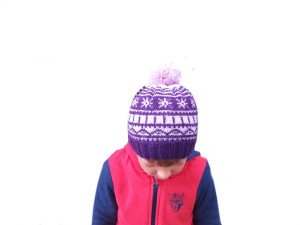 Winter lilac children hat 4-7 year with snowflakes and pompom