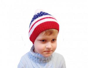 Children's hat American flag, knitted hat, handmade hat, beanie hat, themed hat, pompon hat, winter hat, handmade hat, baby hat, warm hat