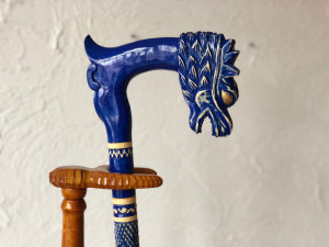 Walking stick dragon Custom walking cane Blue dragon wooden cane Carved walking cane Wood walking canes Walking cane dragon Art walking cane