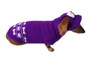 Purple dachshund costume sweater and hat, Costume for miniature dachshund, Doxie sweater and hat set, clothes for small dog of dachshund