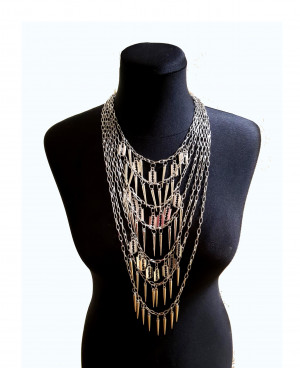 Punk chain necklace with Blades and Razor Spike Gothic jewelry Multi strand chain necklace Unisex Punk necklace Statement Chain Necklace men