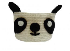 Knitted basket Panda, decorative basket, basket toys, storage basket, round basket, bathroom basket, baby basket, Easter basket, home basket