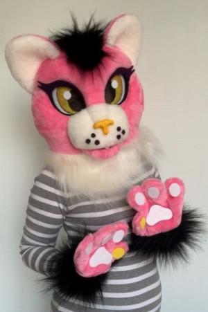 Pink panther fursuit partial, panther fursuit head, premade fursuit head, cute fursuit, oneandonlycostumes