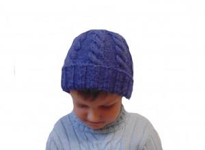 Winter knitted hat, hat for boy, blue hat, warm hat, hat with braids, handmade hat,knitted hat, winter hat, handmade hat, baby hat