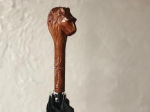 Hand carved umbrella Lion Handmade umbrella Lion Vintage umbrella Carved umbrella Wooden umbrella Custom umbrella Lion Antique umbrella Lion