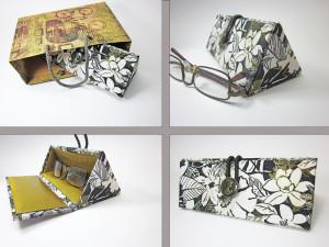 Glasses case hard Eyeglass case hard Glasses case Hard glasses case  Woman glass case Black and white glasses case Gold on white glass case