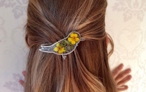 Flower bird Hair pin with pressed flowers, Spring hair pin, Wedding Hair accessories for girls, hair clip, flower hair pin