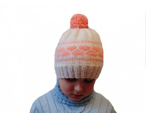 Hat for girls with hearts, children hat, hat with pompon, hat for girl, a pink hat,knitted hat, winter hat, handmade hat, baby hat, warm hat