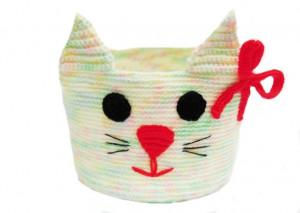 Knitted basket,cat, basket for pencils. Basket for trifles, organizer, table-top basket, hanging basket, basket for a bathroom