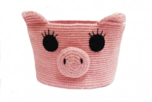 Knitted basket piggy, basket for pencils. Basket for trifles, organizer, table-top basket, hanging basket, basket for a bathroom