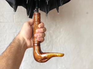 Handmade umbrella with wooden handle Duck Carved Duck Umbrella Stylish umbrella duck Handmade designer umbrella gift Unique umbrella vintage