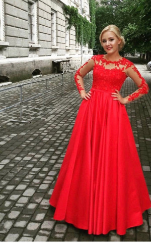 Red Long Sleeve Evening Gown Bridesmaids Dress Long Sleeves Evening Gown Prom Dress Red Cocktail Dress V Back Evening Dress