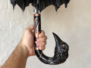 Unique umbrella raven Hand carved wooden umbrella Raven Wooden stick Design umbrella corbie Quality umbrella wooden handle vintage umbrella