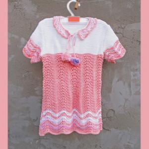 White and pink toddler dress, Girl's cotton dress, Summer short sleeve dress, Knitted girl's dress, Toddler dress with pom-poms, For girl