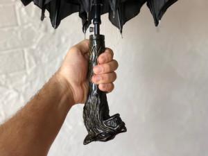 Carved umbrella wolf Wooden umbrella wolf Design umbrella wolf Vintage umbrella wolf Unique umbrella wolf Antique umbrella wolf Gift for him