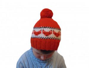 Knitted hat fox, children's hat, hat with pompon, hat boy, hat girl, orange hat, winter hat, handmade hat, baby hat,