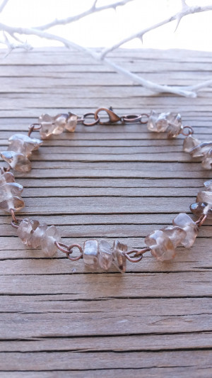 Smoky quartz bracelet Natural chip stone jewelry Gift bracelet Crystal bracelet Bridesmaid gift Copper bracelet Natural bracelet Chip stone