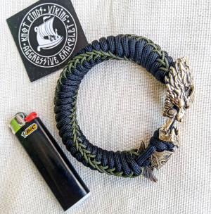 """Paracord bracelet with beads """"Wolf and Spartan"""". Men's style, a gift for tough men. Biker bracelet."""