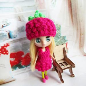 Petite Blythe costume Raspberry hat, dress doll clothes Littlest pet shop blythe outfit mini dolls