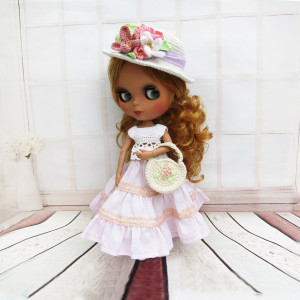 Canotier Blythe hat for doll Knitted clothes accessories Blythe dolls outfit fashion Summer knit cap with flowers headband