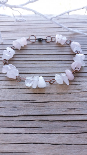 Rose quartz bracelet Crystal jewelry Bridesmaid gift Natural bracelet Gemstone bracelet Gemstone rose Quartz jewelry Chip gemstone bracelet