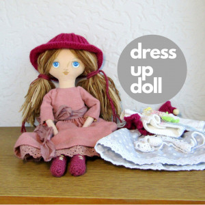Dress up heirloom dolls, Handmade rag doll in autumn boho outfit, birthday gift girls