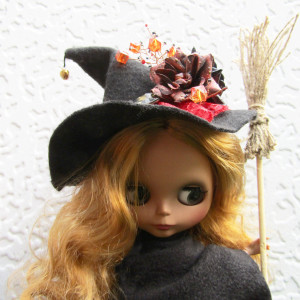 Blythe witch hat Halloween outfit for doll Black magic witch's hats Accessory costume dolls