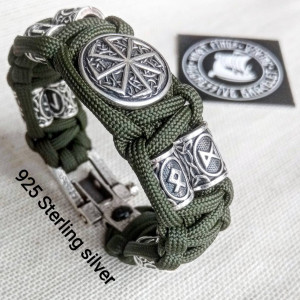 "Runic paracord and 925 Sterling silver bracelet ""VIKING"". Nordic bracelet with  runes beads."