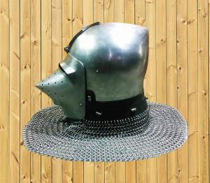 Best Close Helmet for Use on Horseback, Battle Ready Bascinet for Modern Knights Fighting, Historical Full Face Hardened Steel Helmet