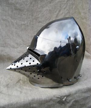 Functional Knights Helm, Hardened Steel Helmet for botn Buhurt and SCA Medieval Tournaments, IMCF German Bascinet with Klappvisor