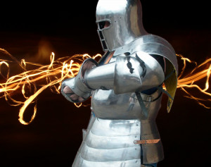 Medieval Knight's Full Set of Armor: Cuirass, Gambeson, Knight's Helmet, Gorget, Gauntlet, Greaves and Leg Armor, Pauldrons and Arm Armor