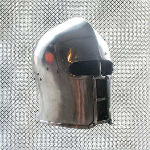 Medieval Barbute Helmet for Armored Combat, Knight Buhurt Helmet, Steel Armor SCA Helm, HMB BarbutaBascinet, 14th Century Visored Barbuta