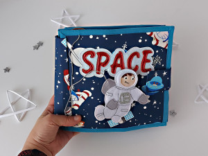 Quiet  baby book Space.Fabric activity Personalized book.Space toy.Soft educational book Planets Solar system.Learning Toddler activity book