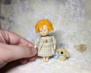 Little handmade cloth wooden doll for dollhouse 1/12 scale Miniature girl doll Collectible vintage style artist toy