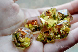 Mushroom dnd dice set Critical Role Forest moss resin polyhedral dice set for RPG game Dungeons and dragons Handmade fox dice byFlowerFox