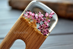 Heather hair fork wood Flower wooden hair fork Flower jewelry Terrarium hair stick Wood resin jewelry Hair slide Wood resin hair stick