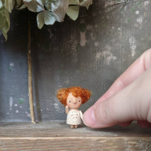 Cloth wooden mini red hair doll in the bag Pocket tiny fairy Little elf toy Miniature art doll figurine