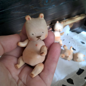 Unique Hand carved miniature wooden bear Artist teddy bear Woodland animal Collectible art toy Eco friendly Small little travel companion