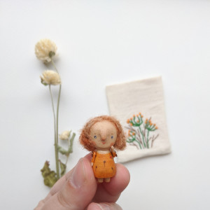 Miniature wooden doll in the bag Tiny fairy doll Collectible small angel Pocket travel toy Miniature sweet baby Souvenir micro wood doll