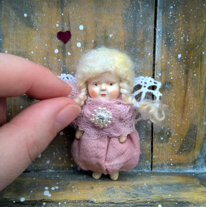 Miniature art doll Christmas angel toy Vintage style mini doll Tiny doll pin Kawaii baby doll decor Unique polymer clay doll brooch
