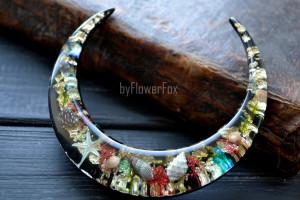 Ocean terrarium crescent moon - Wooden moon hair fork, Seashell jewelry, Sea hair fork, Half moon hair pin, Hair slide