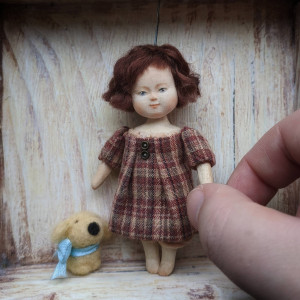 Miniature wooden baby girl doll 1:12 scale Vintage inspired miniature Tiny art doll for dollhouse Collectible vintage style wood toy
