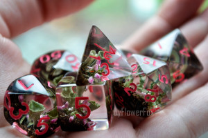 Forest dnd dice set Critical Role Forest lichen resin polyhedral dice set for RPG game Dungeons and dragons Handmade fox dice byFlowerFox