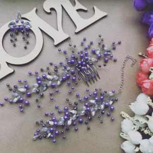Wedding set wedding bracelet wedding earrings purple bridal crystals bracelet Wedding jewelry hair comb set for bride 8 color beads